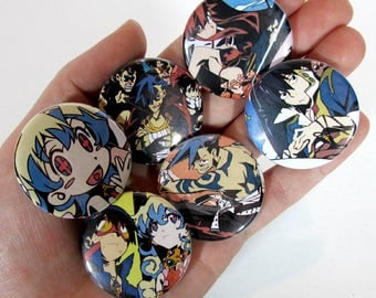 Gurren Lagann Lot of 6 Pinback Buttons 1.5"