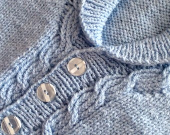 Cardigan, jacket, blue, cable pattern, knitted, child, approx. 4-5 years.  70cms chest