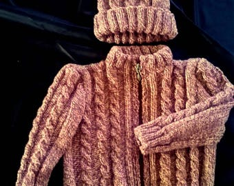 knit vest and hat brown rust - lili knits