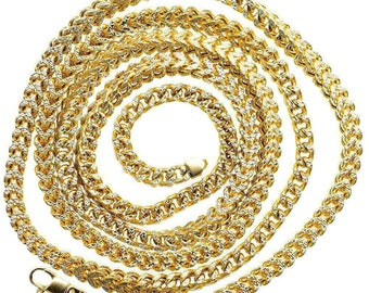 """Hollow 30"""" 10K Yellow Gold Franco D.C Chain 5.30 MM"""