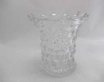 Fostoria American Flared Top Glass Vase, Cubist Pattern Glass Vase,