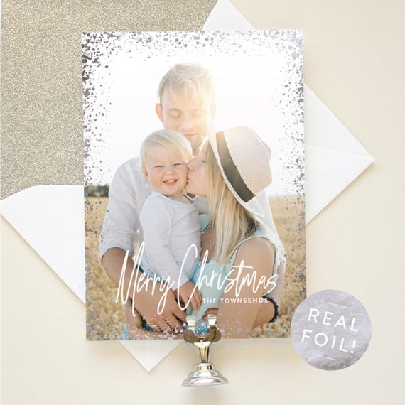 Christmas Cards with Vertical Photo, Silver Foil Christmas Photo Cards, Portrait Layout Holiday Cards with Foil Stamping | Sparkling Merry