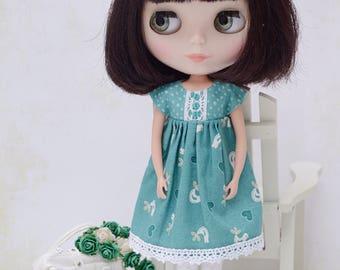 Pretty teal birdy print empire dress for Blythe
