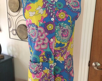 Mod Flower Power 1960s Smock Top
