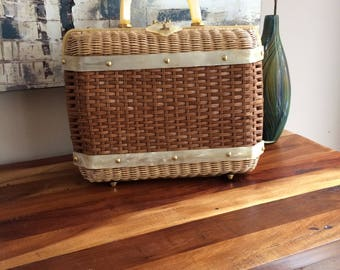 Stylecraft Miami Large Wicker and Lucite Purse