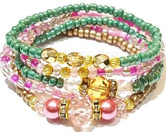Pink and Green Beaded Bracelet, Stretchy, Bracelet Stack, Set, Sorority, Bridal, Boho, Minimalist, Custom Handmade Beaded Jewelry