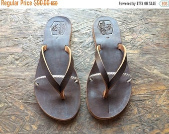 15% OFF The Sprinkle - Brown-Silver Leather Sandals for Men & Women - African Design 10c - Handmade Leather Sandals, Casual Brown Leather Fl