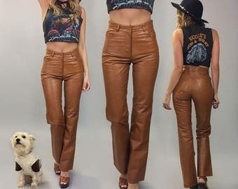 JUNE SALE Vintage 1970's Deadstock HONEY Caramel Leather Flared High Waisted Pants || Size 26