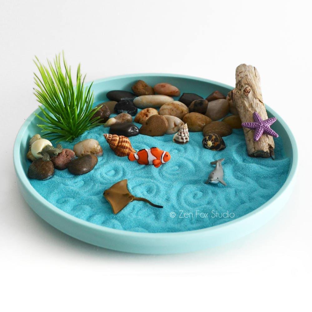 Zen Garden Decor Ideas: Mini Zen Garden // Ocean // Desk Accessory // DIY Zen Kit