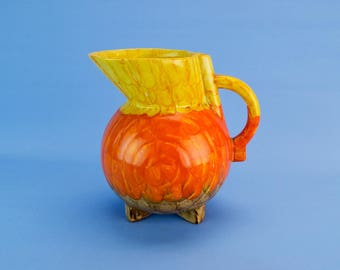 Art Deco Orange Yellow Water Jug Vase Vintage English 1930s Globular