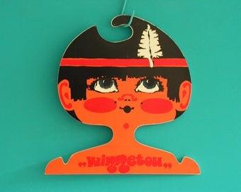 RARE Vintage collectible plastic children's clothes coat face hanger shop display child's head Winnetou Indian Boy retro 1970s