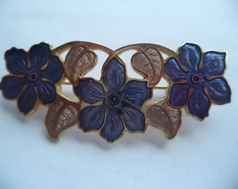 Fabulous Vintage Signed Fish and Crown Art Nouveau Flowers Brooch/Pin