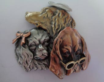 Vintage Signed K&T Assorted Posh Dogs Brooch/Pin