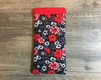 Red Floral • Pop Open Glasses Case