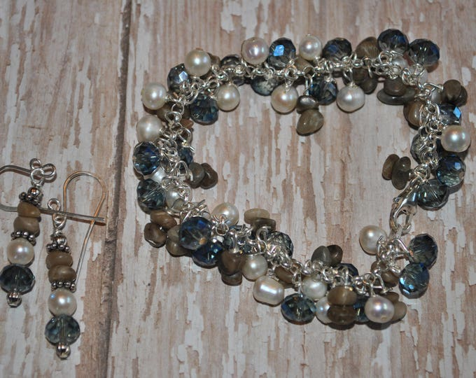 Petoskey Stone sterling silver dangle bracelet with pearls and blue crystals, Lake Michigan Bracelet,  charm bracelet
