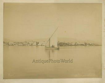 Suez canal sail boat Egypt antique albuem photo Zangaki