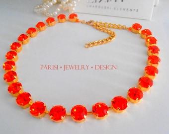 Swarovski Crystal Necklace / Hyacinth Choker / Gold Tennis Cupchain / Orange / Fashion Collet Necklace / Georgian / SS47 / Birthday gift