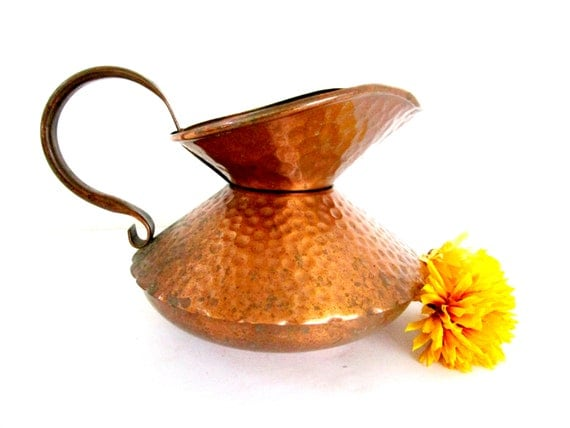 Vintage Copper Pitcher, Hammered Copper, Gregorian Copper, Stout Pitcher, Copper Kitchen Decor, Modern Farmhouse Decor