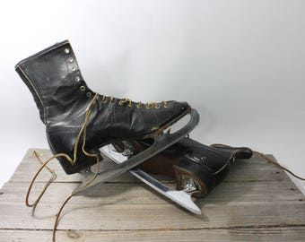 1960s or 70s vintage Ice skates, black boot skates, Chromium ice skates. Ice skates, skates, ice skating, decor, Chromium