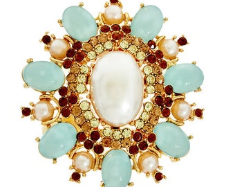 Huge Joan Rivers Royal Estate Style Brooch - Green -  S2290
