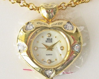 Nolan Miller Heart Watch Necklace with Crystals and NEW BATTERY - S2299