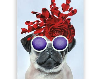 Original Pug Painting, on high quality 250g Art paper, handpainted by Coco de Paris: Flower Power Pug, Gift for Pug lovers