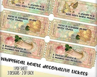 SALE: Digital Collage Sheet TRAIN TICKETS - Shabby Pastels Roses Digital Ticket Pdf Sheet - Collage - Altered Art - Journaling Card - Scrapb