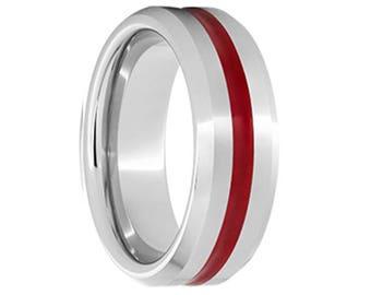 serinium wedding bandserinium wedding ringred enamelred wedding band - Red Wedding Rings