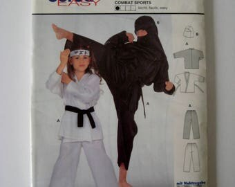 Burda Ninja Costume Sewing Pattern 4099 Karate Martial Arts Top Belt Pants Hood Combat Halloween Child Sizes 6 8 10 12 14 UNCUT
