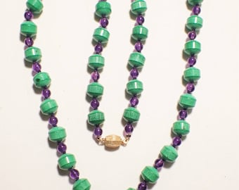 Chrysoprase and Amethyst Hand Knotted Necklace Unusual Beads