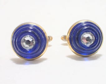 Hickok USA Blue Molded Art Glass with Clear Crystal Center Gold Tone Cufflinks