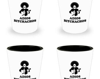 Adios Bitchachos Funny Shot Glass Gift Sombrero SET of 4 Muchacho Mustache