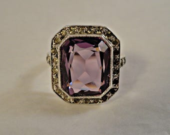 1920s Sterling Silver Art Deco Amethyst Paste Ring