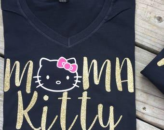 Mama and Papa kitty shirts, hello kitty birthday party, family shirts,mom and dad, hello kitty, matching shirts