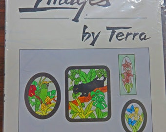 Images by Terra - Stained Glass Patterns - Set 1003 & Set 1022 - Flowers - Butterfly - Hummingbird - Panther - Parrot