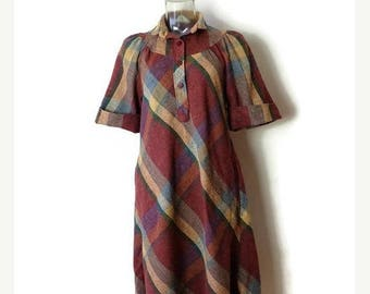 ON SALE Vintage Reddish Brown Checked/Plaid Short Sleeve Tunic Dress from 70's*