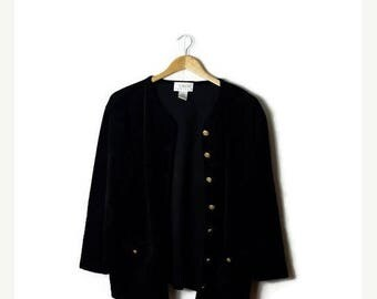 ON SALE Vintage Black Velour Slouchy Cardigan from 1980's*