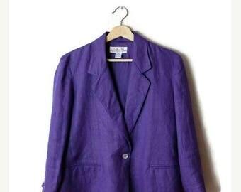ON SALE Vintage Plain Purple pure Linen Blazer Jacket  from 90's*