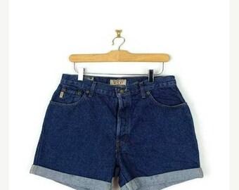 ON SALE Vintage Blue Denim High Waist Denim Shorts from 90's/W30*