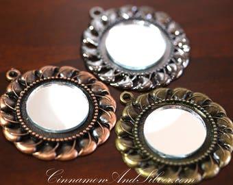 Copper Sun Pendant Necklace, Victorian Sunflower Mirror Necklace, Real Mirror Bronze Pendant Necklace, Vintage Copper Flower Mirror Necklace
