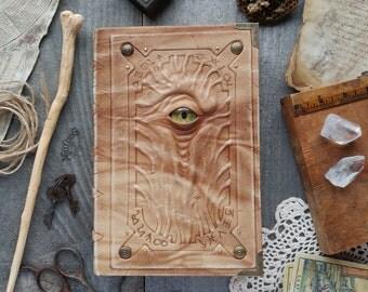 Alchemist handmade leather journal, enigma necronomicon book, wicca alchemy notebook, wizard larp grimoire, element tarot sketchbook ooak