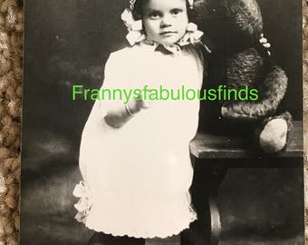 Antique Photograph of Toddler Girl with Teddy Bear, Glossy
