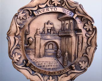 Vintage Puerto Rico Capilla Del Cristo 3D Carved Wood/Resin Souvenir Wall Plate or Plaque