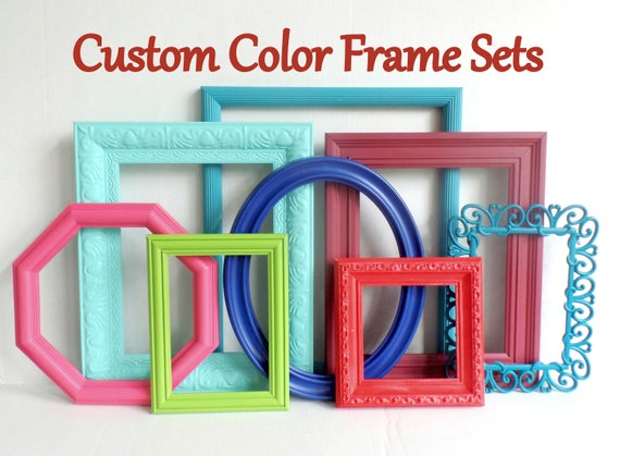 Custom Color Picture Frame Set Bright Colorful Frames Playroom