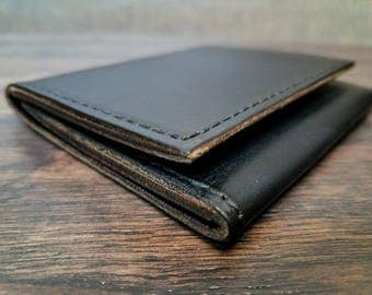 Trifold wallet horween chromexcel leather black