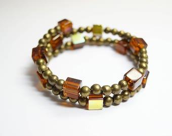 Bracelet Glassbeads Unique metall brown
