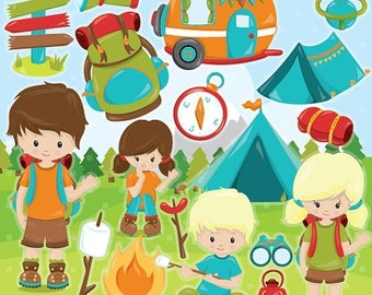 80% OFF SALE camping clipart commercial use, vector graphics, camping digital clip art, scout digital images  - CL993