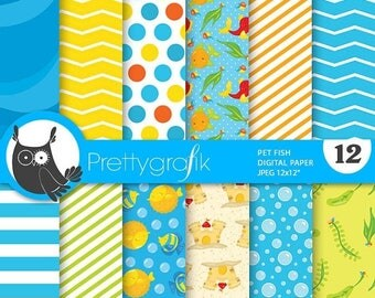 80% OFF SALE Pet fish digital paper, commercial use, scrapbook papers, background chevron, stripes - PS741