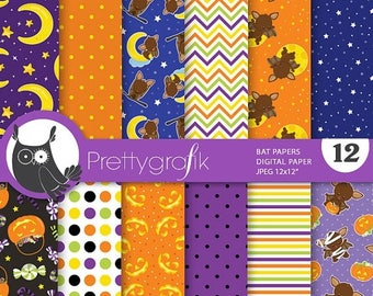 80% OFF SALE Halloween bat digital papers, commercial use, scrapbook papers, background  - PS750