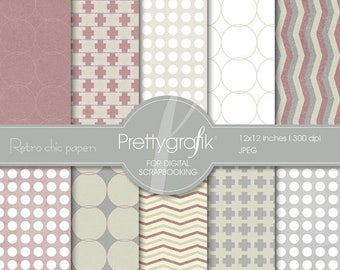 80% OFF SALE Retro Chic digital paper, commercial use, scrapbook papers, background - PS500